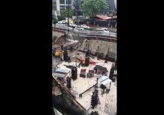 Muro e calçada foram atingidos (FOTO: Reprodução/Whatsapp)