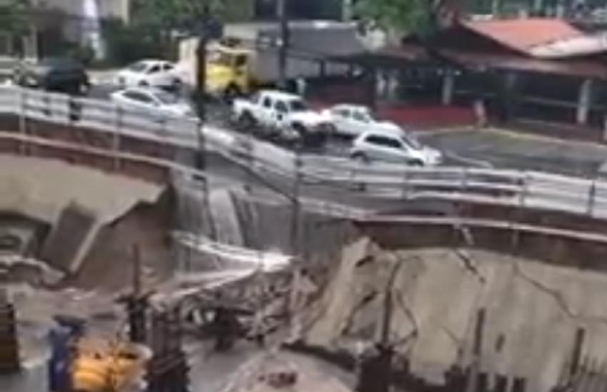 Muro de contenção é construído em parte de obra que desabou após chuva em Fortaleza