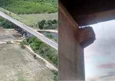 Ponte de Chorozinho (à esq.) está parcialmente interditada. Ponte em Tabuleiro (à dir.) está liberada. (Foto: Reprodução)