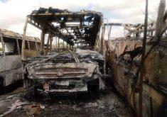 Mais de 20 veículos foram atingidos (FOTO: Prefeitura de Ibaretama)