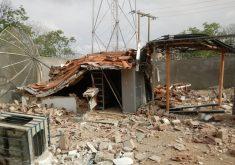 Antena de telefonia foi explodida em Limoeiro do Norte. (Foto: Reprodução)