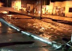 Chuva no Crato fez transbordar canal. (Foto: Reprodução/Whatsapp)