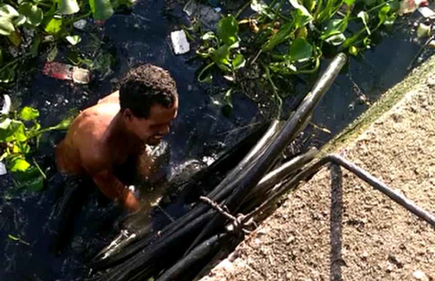 Ladrões mergulhavam no canal do Lagamar para esconder fios de cobre e depois vender