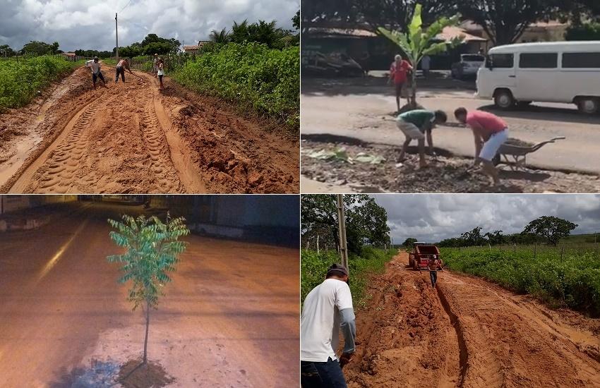 Moradores de cidades do Ceará recorrem a jeitinho para sinalizar problemas com buracos