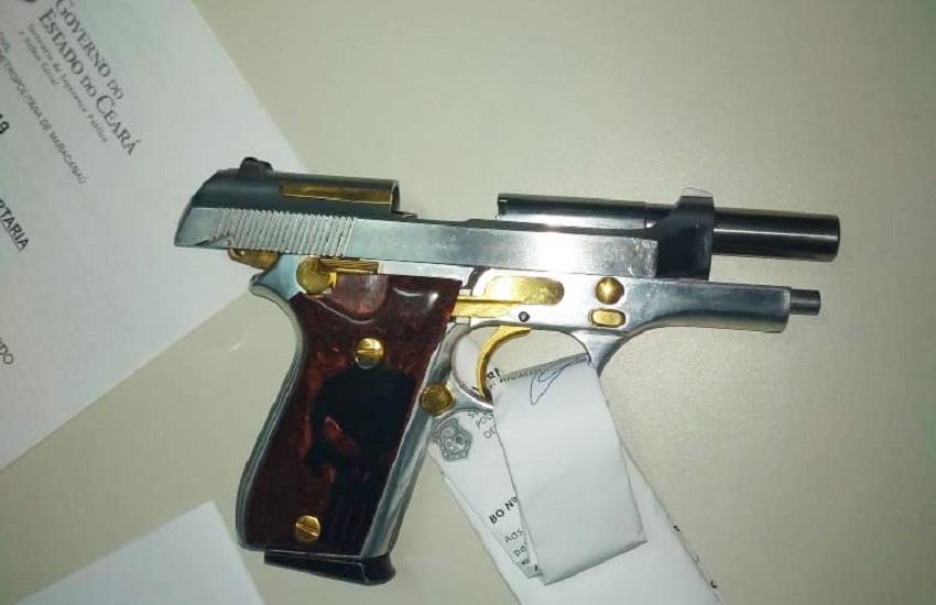 Polícia apreende pistola com peças de ouro em operação em Maracanaú