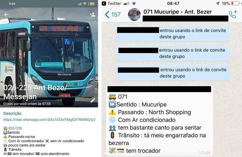 Passageiros de ônibus de Fortaleza criam grupos de Whatsapp temáticos de linhas