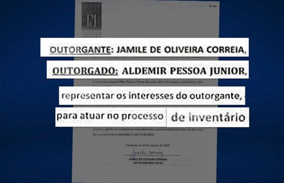 A procuração foi assinada 10 dias antes da morte de Jamile (FOTO: Reprodução/TV Jangadeiro)