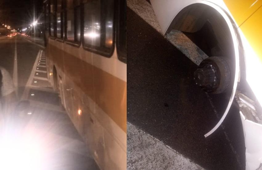 Pneu de ônibus que transportava universitários se solta durante trajeto e estudantes reclamam do serviço