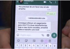 No golpe, os criminosos clonam o whatsapp de pessoas e enviam mensagens pedindo dinheiro emprestado a familiares e amigos (FOTO: Reprodução/TV Jangadeiro)