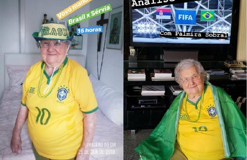 Dona Palmira, aos 97 anos, torcendo pelo Brasil, vai te ensinar a levar a Seleção rumo ao hexa