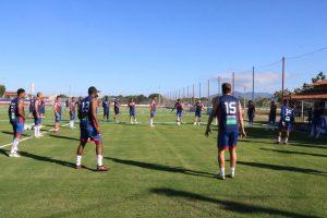 O elenco do Fortaleza encerrou os treinos para a partida deste sábado (13). (FOTO: Leonardo Moreira / Fortaleza EC)