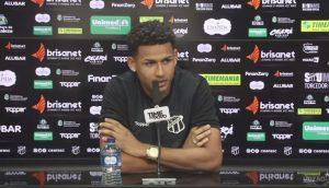 Felippe Cardoso em entrevista coletiva nesta terça-feira (13). (Foto: Reprodução/Ceará SC)