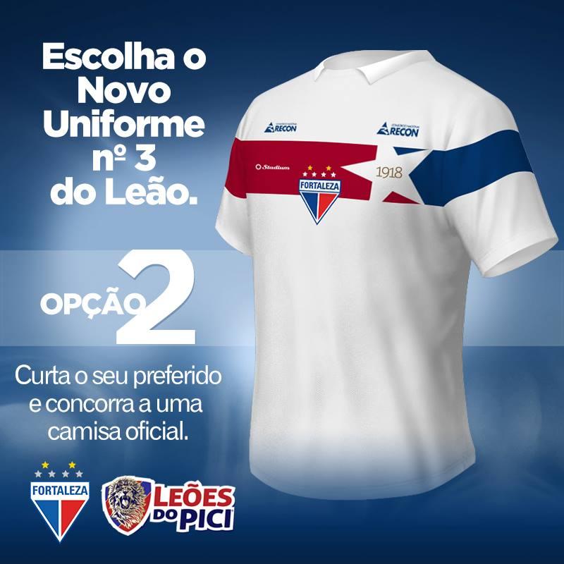 Opção 2 da enquete foi escolhida para ser o terceiro uniforme do Fortaleza