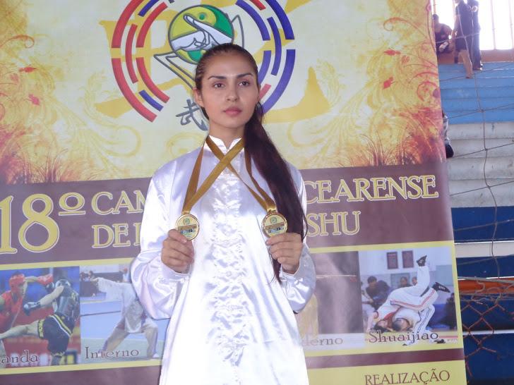 Samara foi a 1ª colocada em todas as categorias do Campeonato Cearense de Kung Fu (FOTO: Divulgação)