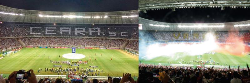 Nos dois jogos, as torcidas fizeram belos mosaicos deixando o estádio ainda mais bonito. (Foto: Divulgação Ceará SC/Tribuna do Ceará)