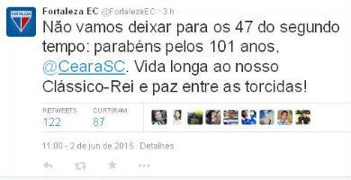O Fortaleza usou as redes sociais para parabenizar o time alvinegro (Foto: Reprodução/Twitter)