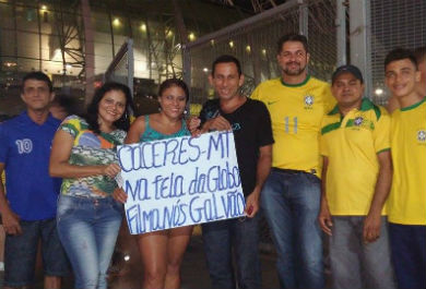 Grupo veio de Mato-Grosso para conferir a partida do Brasil na Arena Castelão (Foto: Lyvia Rocha/Tribuna do Ceará)