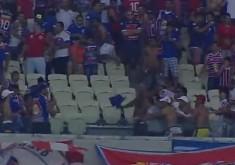 A briga foi protagonizada entre torcedores do Fortaleza (FOTO: Reprodução/Esporte Interativo)