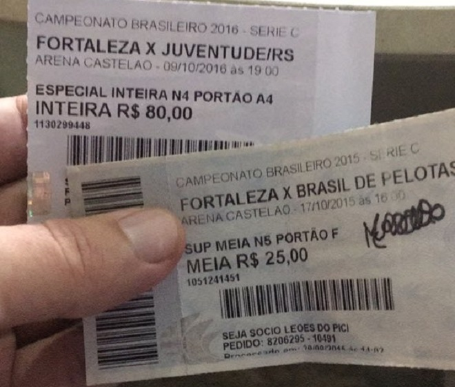 Ingressos falsos para jogo do Fortaleza eram vendidos por até R$ 100