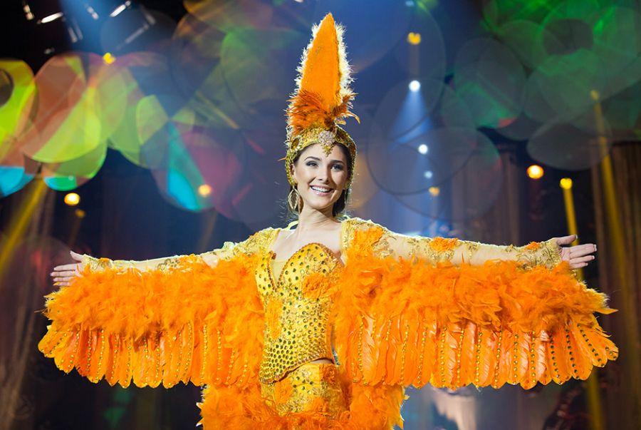 Bianca Matte, a Miss Roraima, chamou a atenção com o traje O Galo da Serra, uma das aves mais belas do Brasil