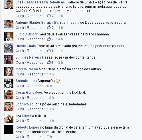 Internautas comentam o caso inusitado na página do Tribuna do Ceará no Facebook.