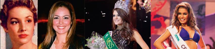 Emília Correia Lima, Flávia Cavalcante e Melissa Gurgel conquistaram o título de Miss Brasil; Vanessa Vidal (à dir.) foi a primeira surda do evento, sendo vice-campeã (Arte: Tiago Leite/Divulgação/Reprodução)