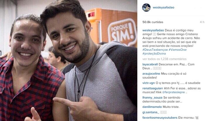 Artista Lamentam acidente e morte de Cristiano Araújo