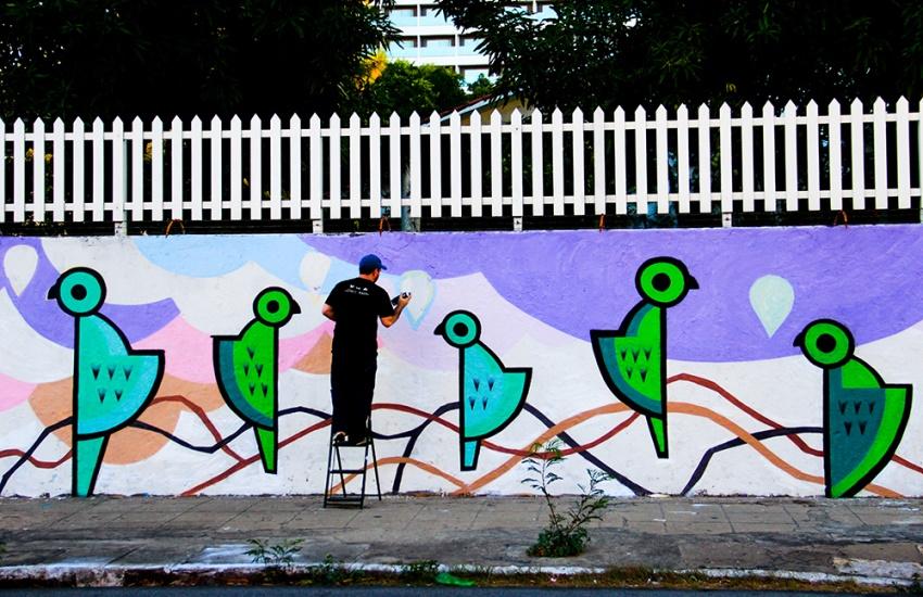 Muros de Fortaleza ganham colorido especial em projeto de arte urbana