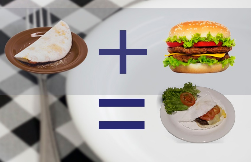 """Restaurante de Fortaleza cria a tapioca de hambúrguer. Conheça o """"tapibúrguer"""""""