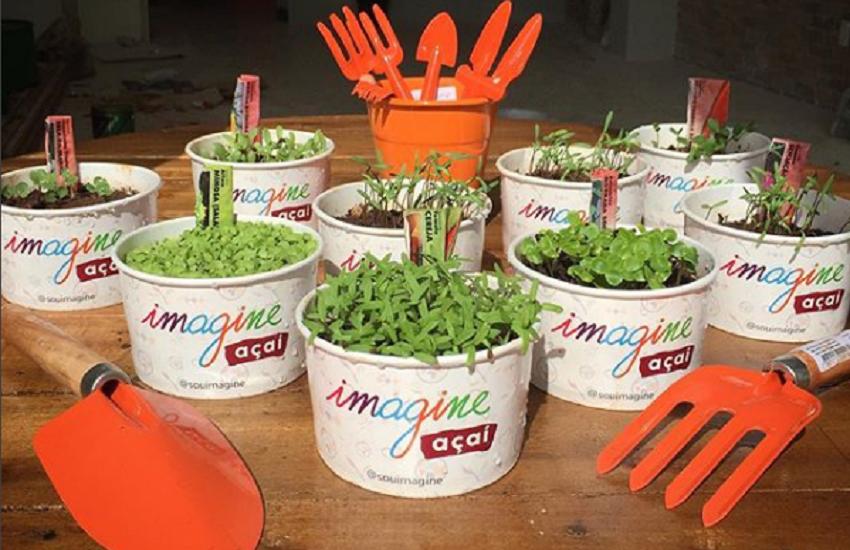 Loja de açaí entrega sementes para estimular cliente a usar pote de maneira ecológica