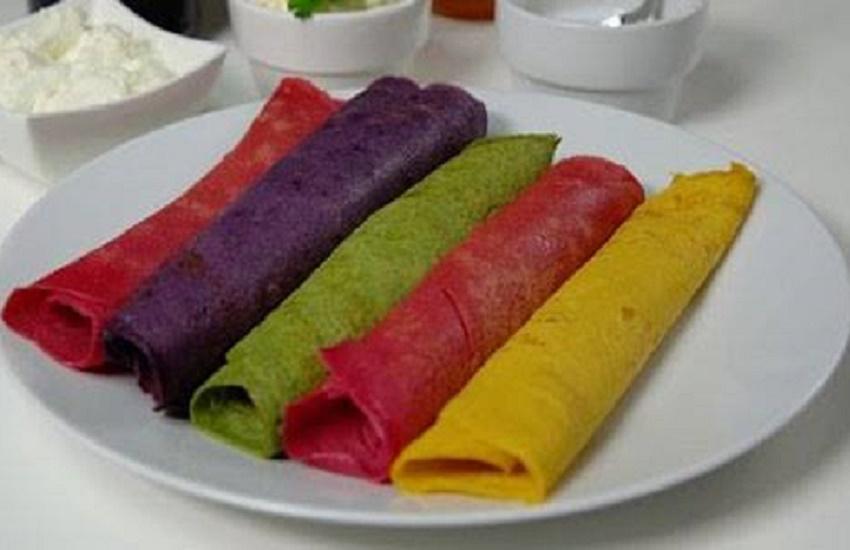 Panqueca com massa de tapioca colorida