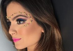 Uso de pedrarias na maquiagem é recomendado para a noite. (Foto: Tribuna do Ceará)