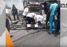 Perseguição, viatura capota (FOTO: Reprodução TV Jangadeiro)
