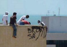 Pichação nos prédios e espaços públicos de Fortaleza (FOTO: Reprodução TV Jangadeiro)
