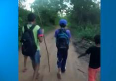 alunos caminhando