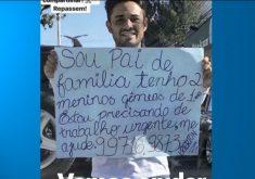 Erierton Nascimento usa cartais na tentativa de encontrar um emprego(FOTO: Reprodução TV Jangadeiro)