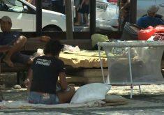 Pessoas em situação de rua na praça do Ferreira(FOTO: Reprodução TV Jangadeiro)