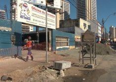 Obra de intervenção na avenida Aguanambi(FOTO: Reprodução Nordestv)