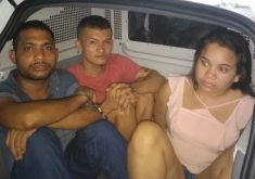 Suspeitos do atentado à caçamba de coleta de lixo no Papicu foram presos (FOTO: Reprodução TV Jangadeiro)