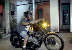 Homem constrói sua própria moto com peças de outras motos (FOTO: Reprodução TV Jangadeiro)