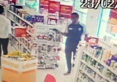 Homem armado invade farmácia em Fortaleza (FOTO: Reprodução TV Jangadeiro)