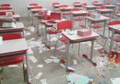 Uma escola da Barra do Ceará suspendeu as aulas após o prédio ser invadido (FOTO: Reprodução/TV Jangadeiro)