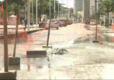 Avenida turística em Fortaleza, a Beira-Mar está prejudicada em alguns pontos. (Foto: Reprodução/TV Jangadeiro)