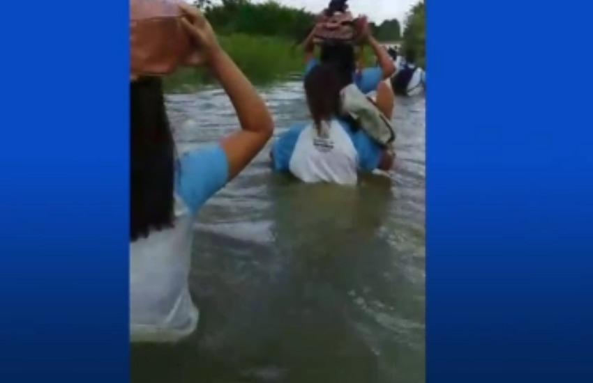 Rua José Domingos foi tomada pela água do Rio Cocó (FOTO: TV Jangadeiro)